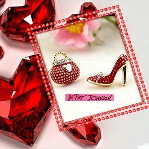 Betsey Johnson shoe handbag earrings
